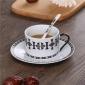 �S家直�N�W美黑白陶瓷杯咖啡杯碟下午茶杯子